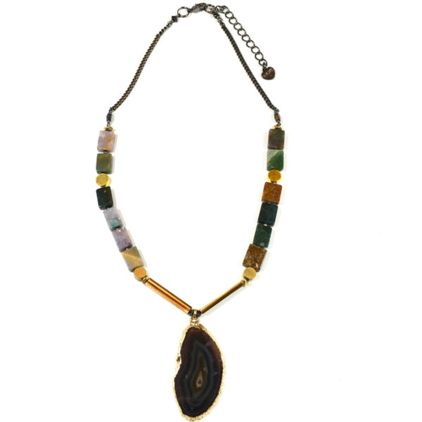 Agate Slice Pendant Necklace - Unakite