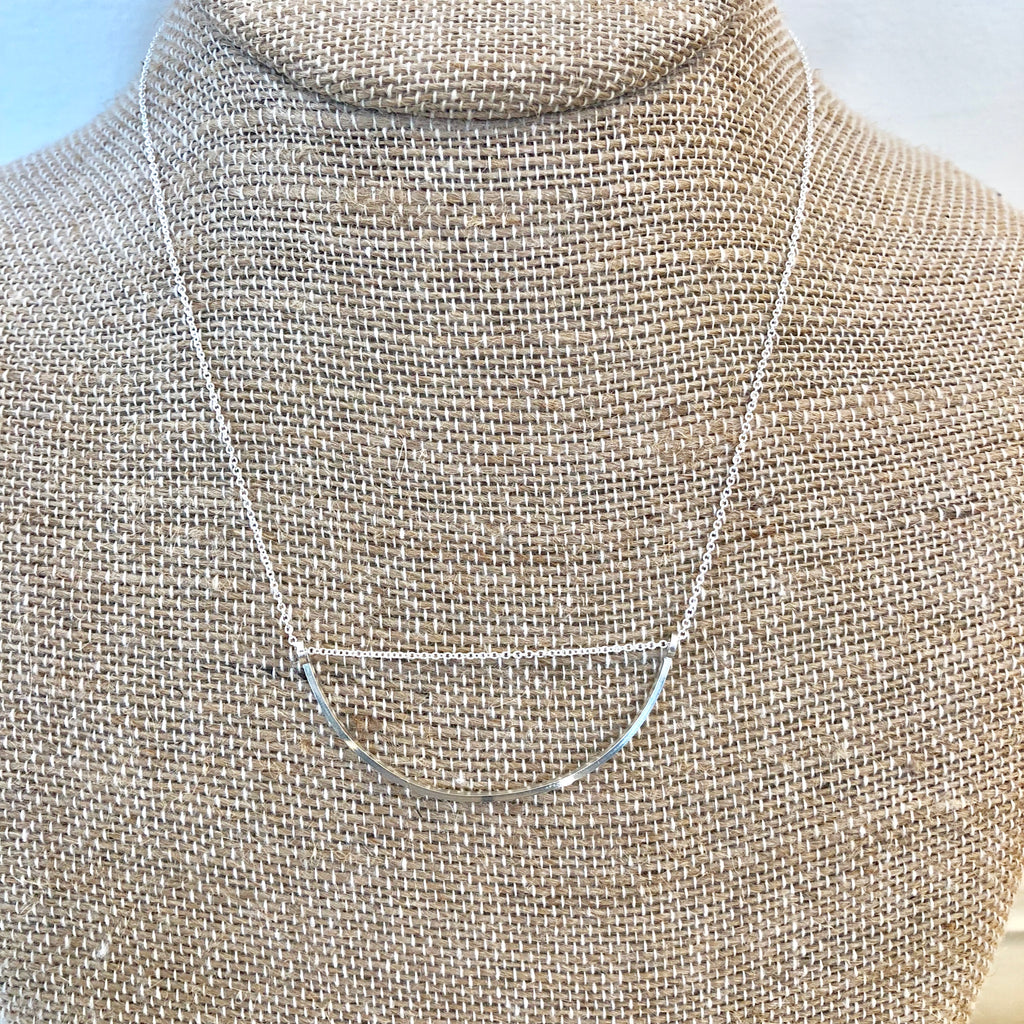 Ava Half Circle Necklace - Silver