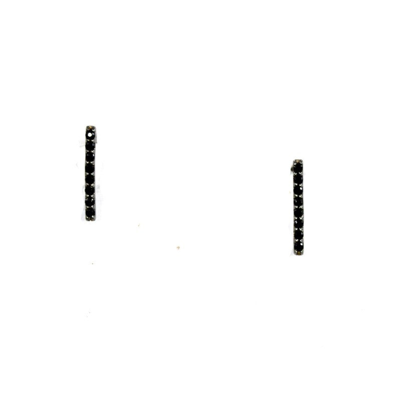 CZ Bar Stud Earrings - Black - A Jewelry Wonderland  - 1