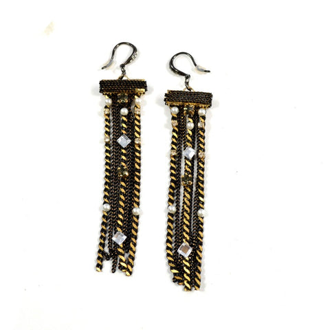 Black & Gold Chain Fringe Earrings - A Jewelry Wonderland  - 1