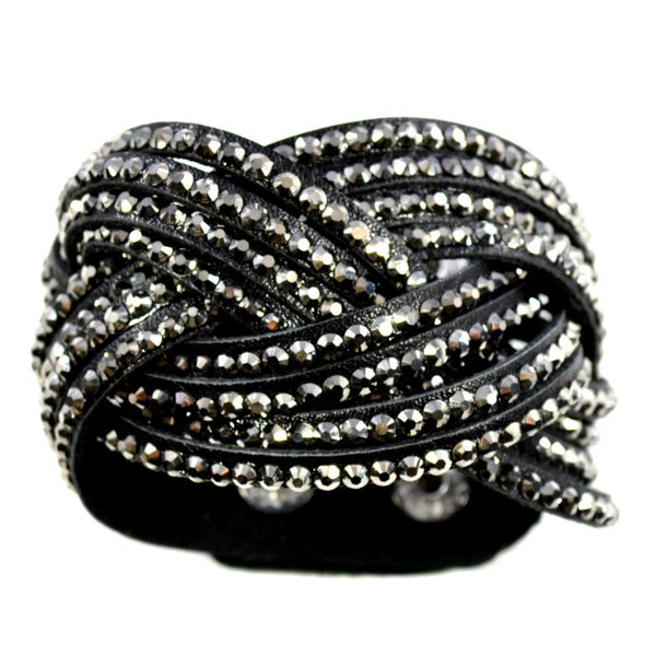 Crystal Braided Cuff Bracelet - Black - A Jewelry Wonderland  - 1