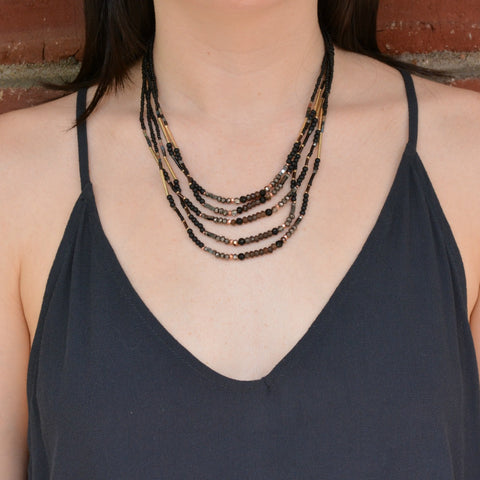 Black Mix Beaded Multi-Strand Necklace