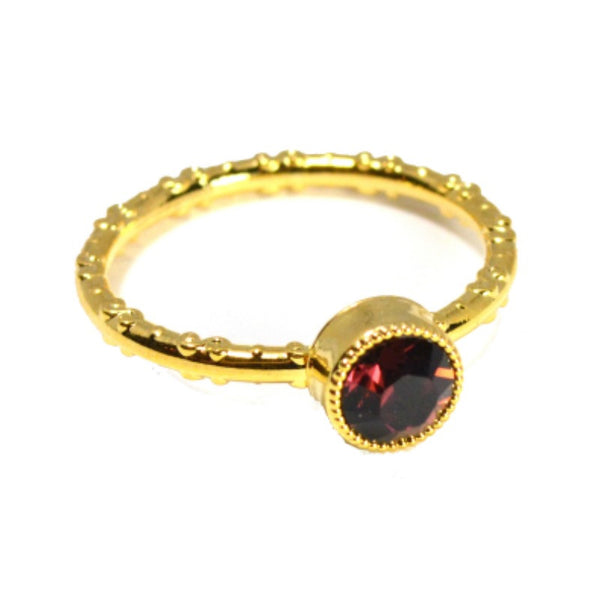 Swarovski Round Ring - Burgundy/Gold - A Jewelry Wonderland