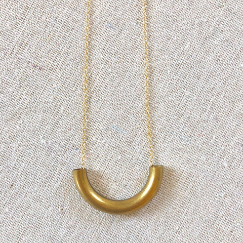 Ina Curved Bar Necklace - Gold