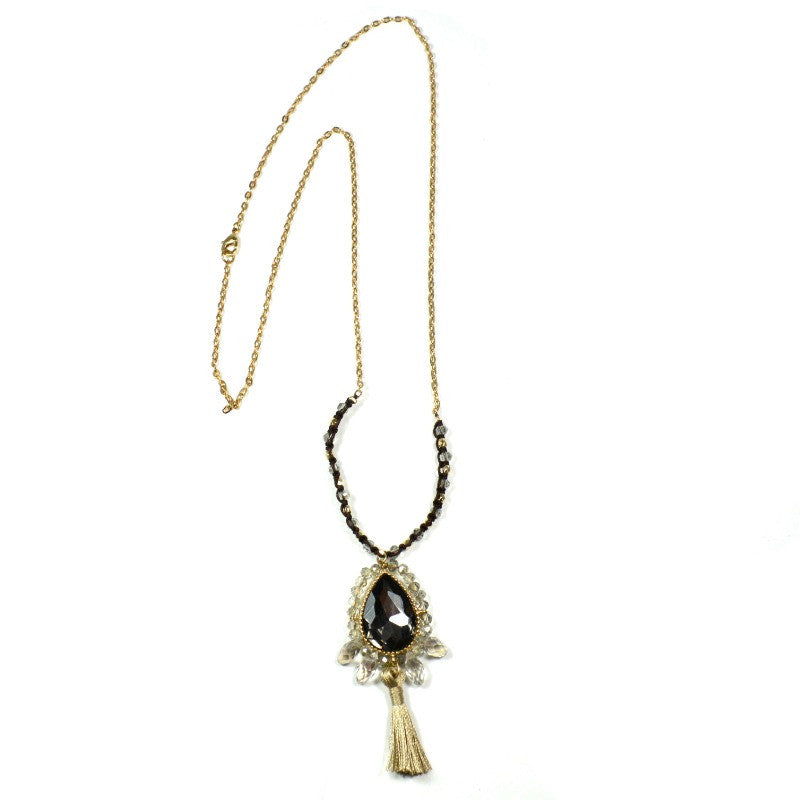 Crystal Sparkle with Tassel Necklace - A Jewelry Wonderland
