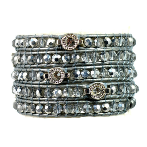 Wrap Bracelet - Clear & Silver Crystals - A Jewelry Wonderland  - 1