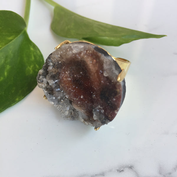 Raw Agate Druzy Ring - Earth/Gold