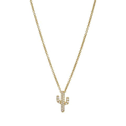 Cactus Necklace - Gold with CZ's