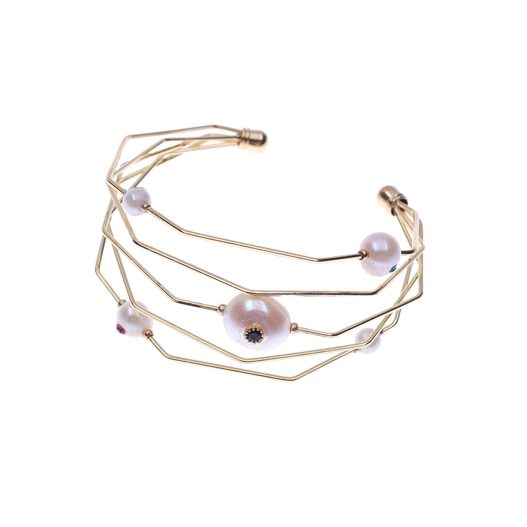 White Pearl Studded Cuff Bracelet - Gold