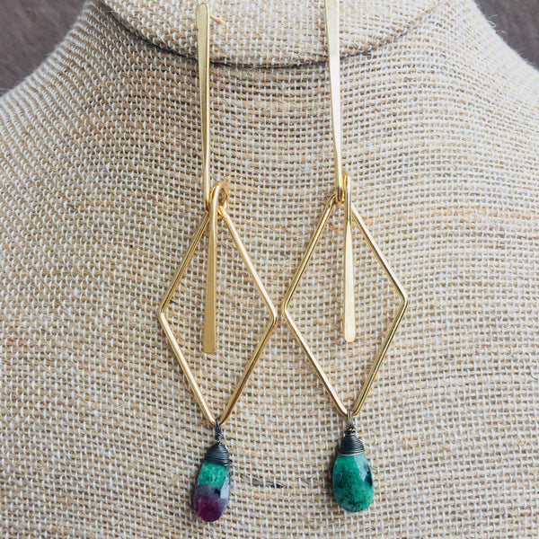 Green Droplet Geometric Earrings