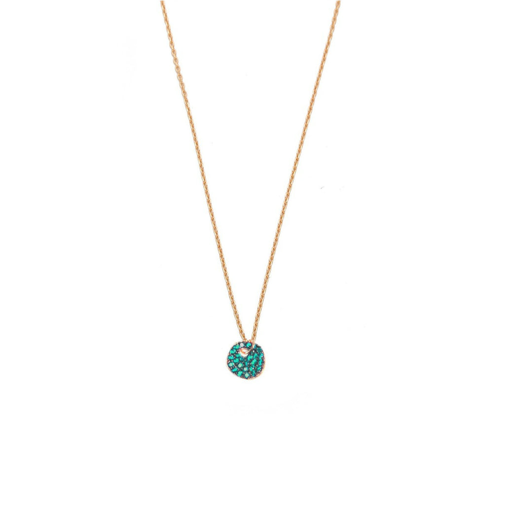 CZ Irregular Disc Necklace on Gold Chain - Green