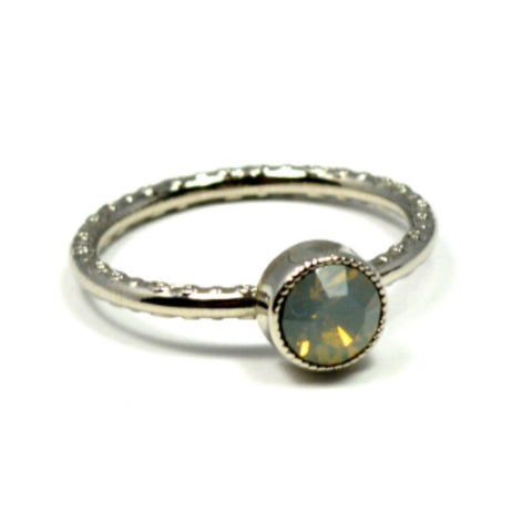 Swarovski Round Ring - Grey Opal/Rhodium - A Jewelry Wonderland