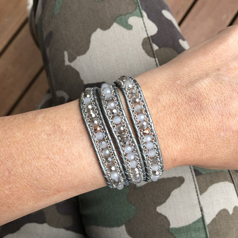 Triple Wrap Bracelet - Moonstone Mix