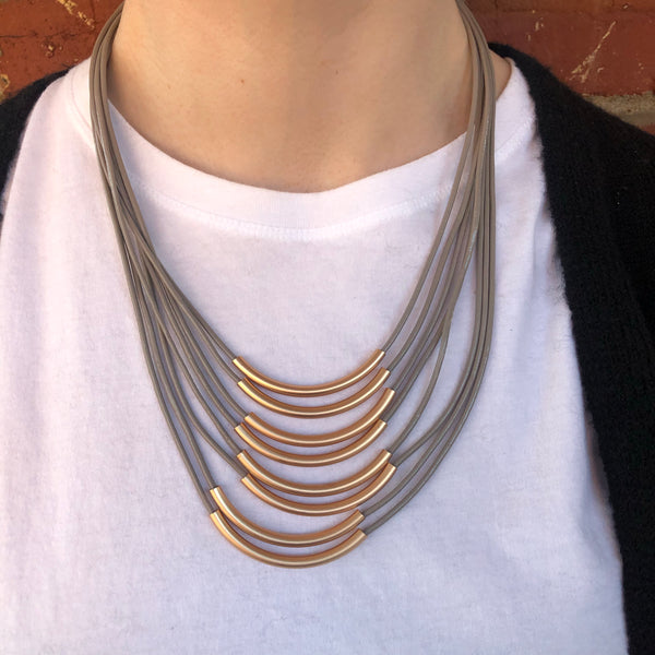 Gold Bar Leather MultiStrand Necklace - Grey