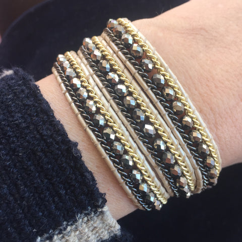 Wrap Bracelet - Triple Wrap Silver Mix on Cream