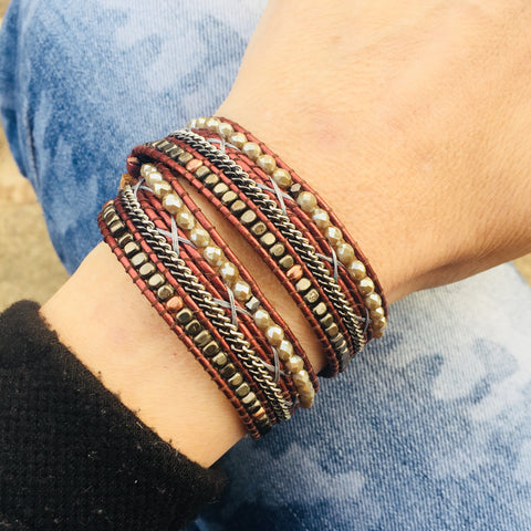 Mixed Double Wrap Bracelet