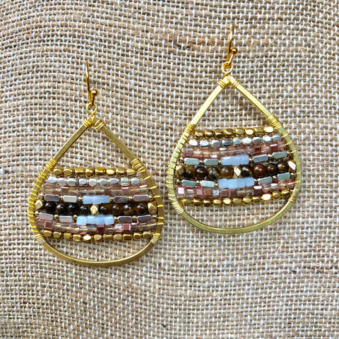 Tiger Eye Mix Beaded Gold Earrings