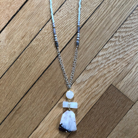 Agate Pendant Geometric Long Layering Necklace