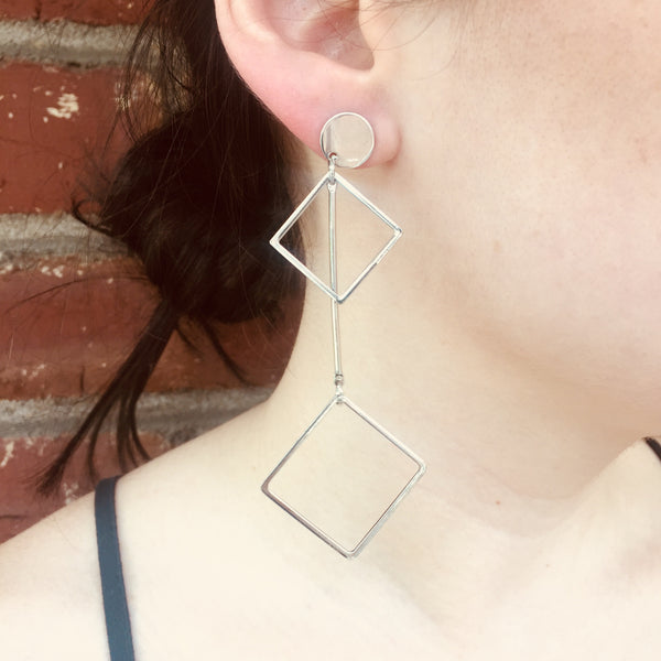 Silver Geometric Drop Earrings - Square
