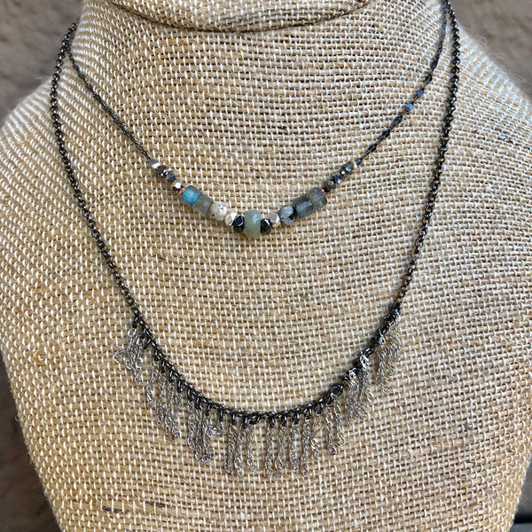 Labradorite & Silver Tassels Double Strand Necklace