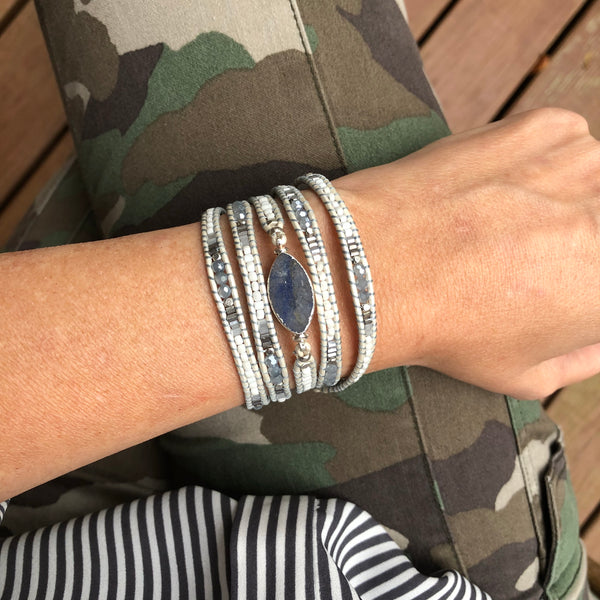 Agate Stone Wrap Bracelet - Blue Mix
