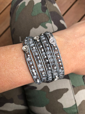 Wrap Bracelet - Clear & Silver Crystals