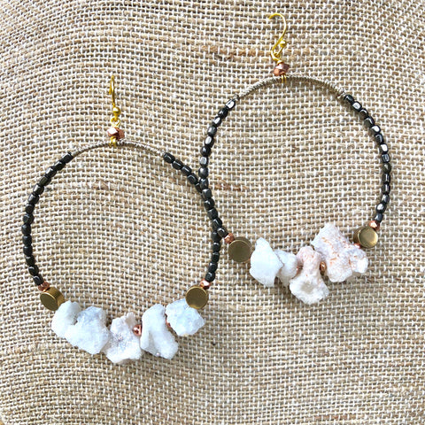 Raw Agate Beaded Hoop Earrings