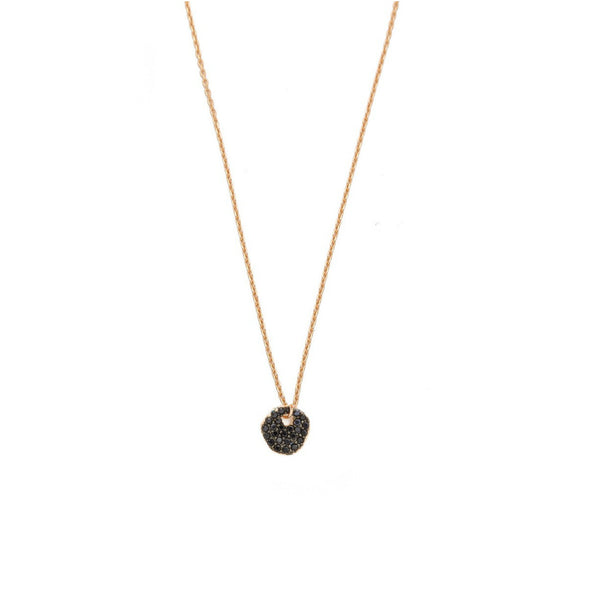 CZ Irregular Disc Necklace on Gold Chain - Jet