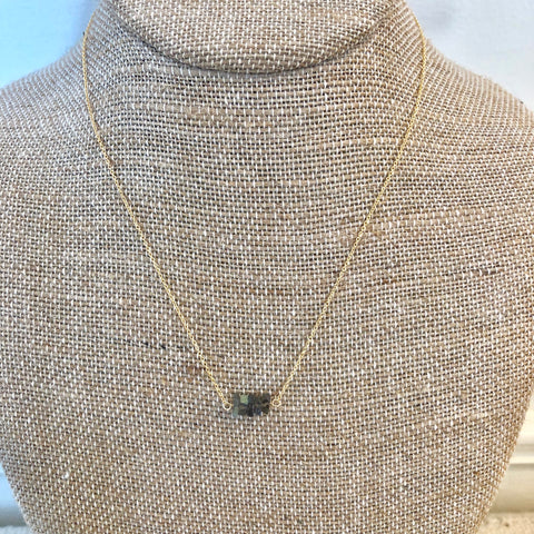 Mia Labradorite Mini Bar Necklace - Gold