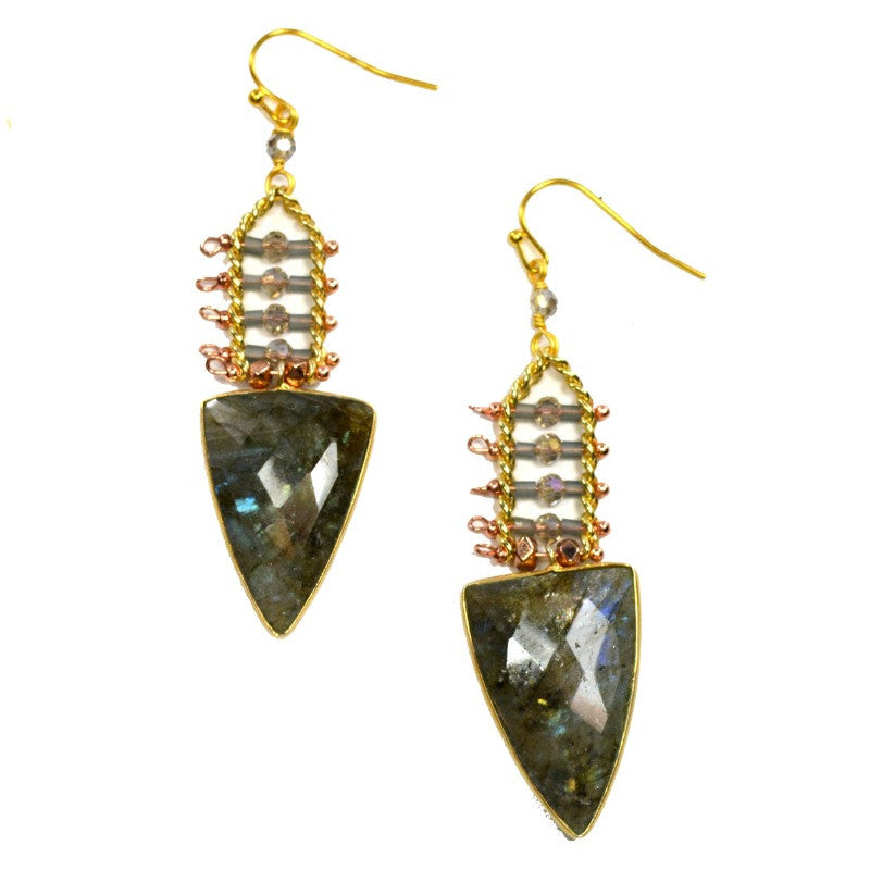 Labradorite Drop Earrings - Rectangle Beads - A Jewelry Wonderland