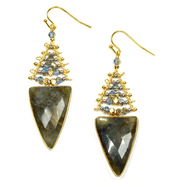 Labradorite Drop Earrings - Triangle Beads - A Jewelry Wonderland