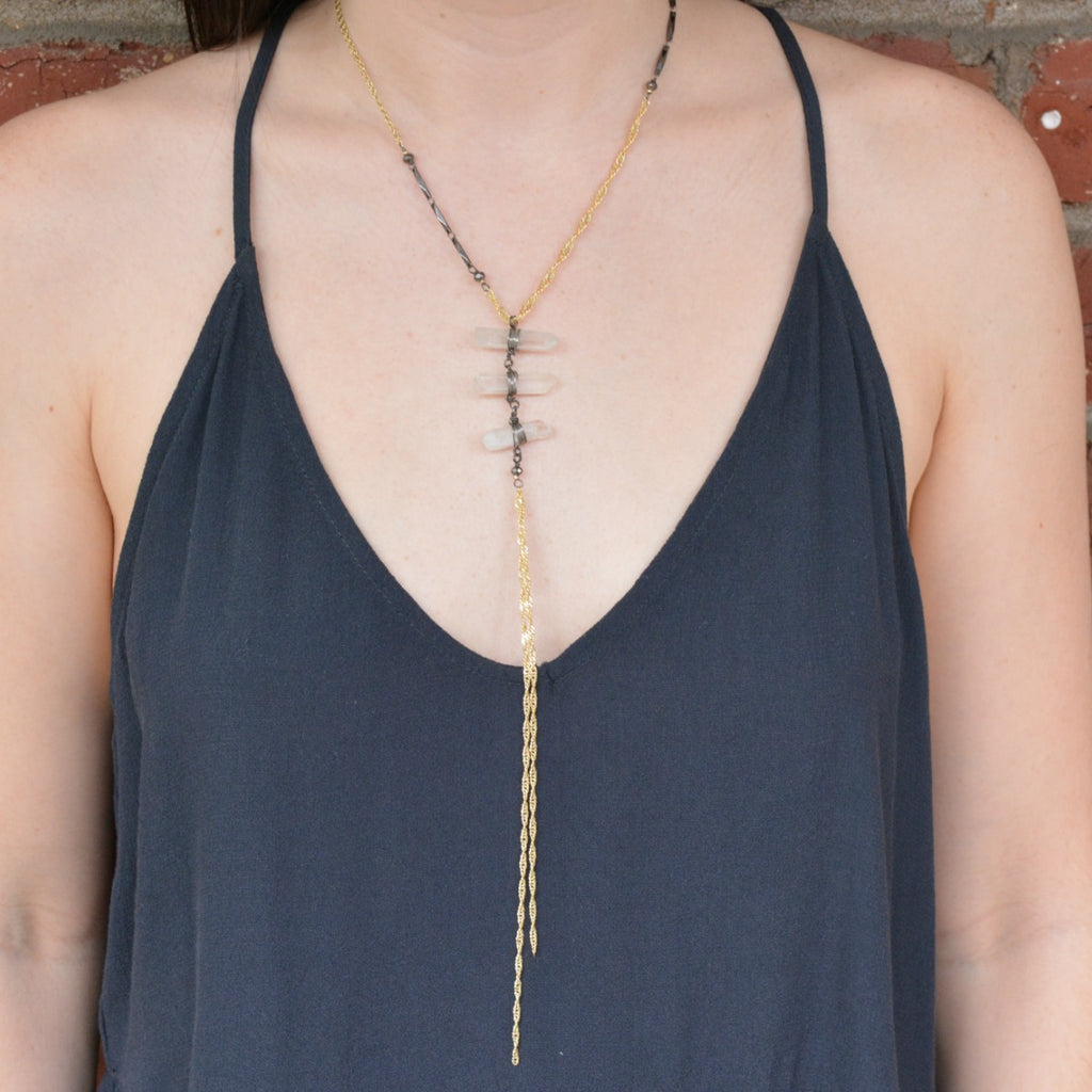 Marnie Necklace - Clear/Gold