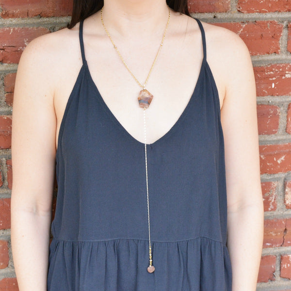 Agate Pendant Lariat Necklace