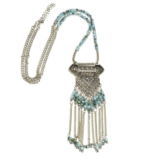 Metallic Bead Tassel Pendant Necklace - A Jewelry Wonderland  - 1