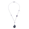 Minimalist Grey Pearl Long Drop Necklace