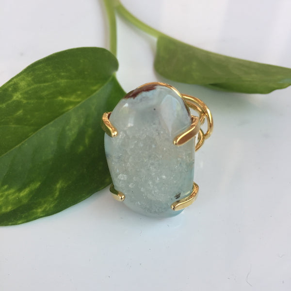 Agate Druzy Ring - Green/Gold