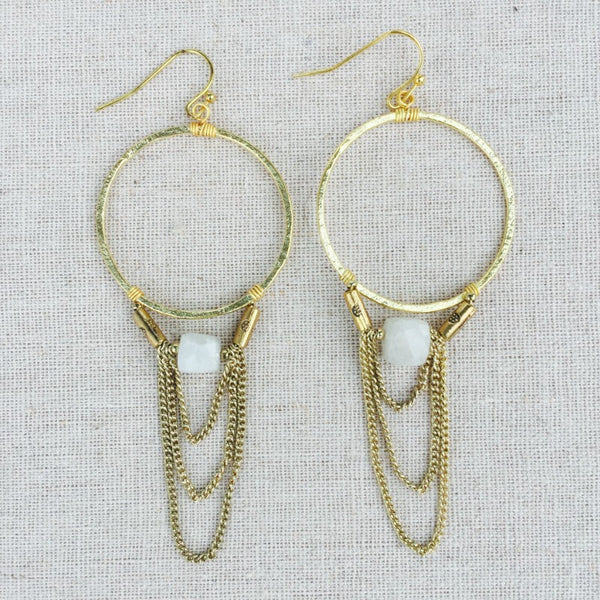 Moonstone Drop Hoop Earrings