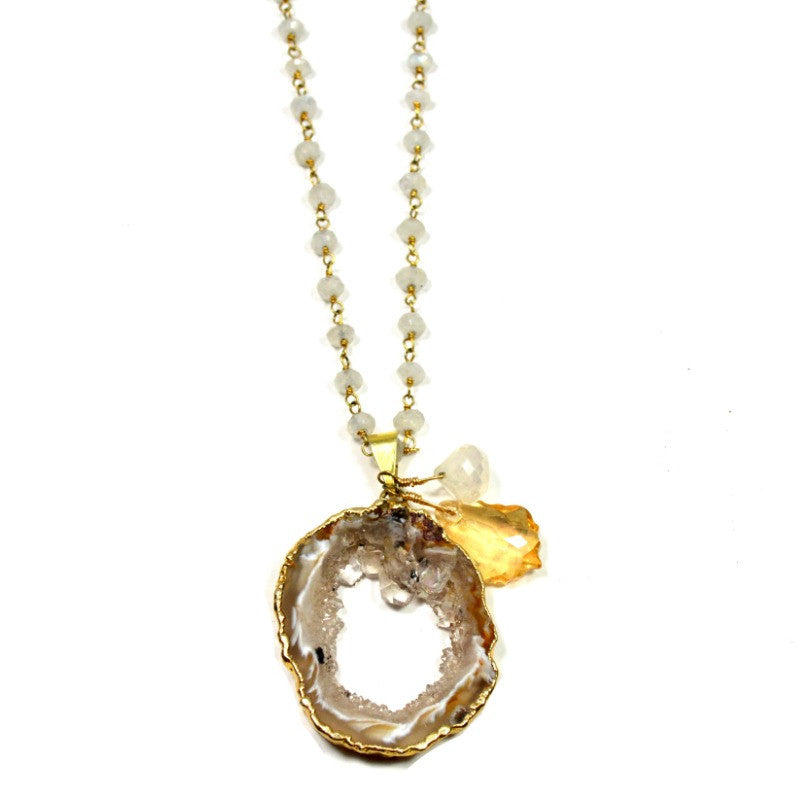 Moonstone & Agate Slice Necklace - A Jewelry Wonderland  - 1