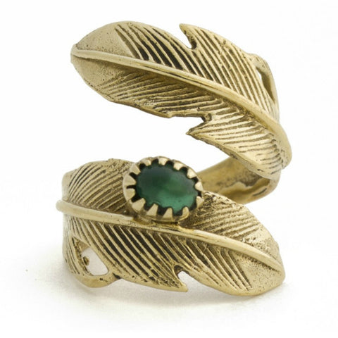 Light as a Feather Ring - Emerald/Gold - A Jewelry Wonderland  - 1
