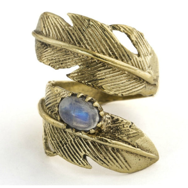 Light as a Feather Ring - Moonstone/Gold - A Jewelry Wonderland