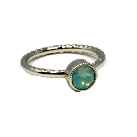 Swarovski Round Ring - Pacific Opal/Rhodium - A Jewelry Wonderland