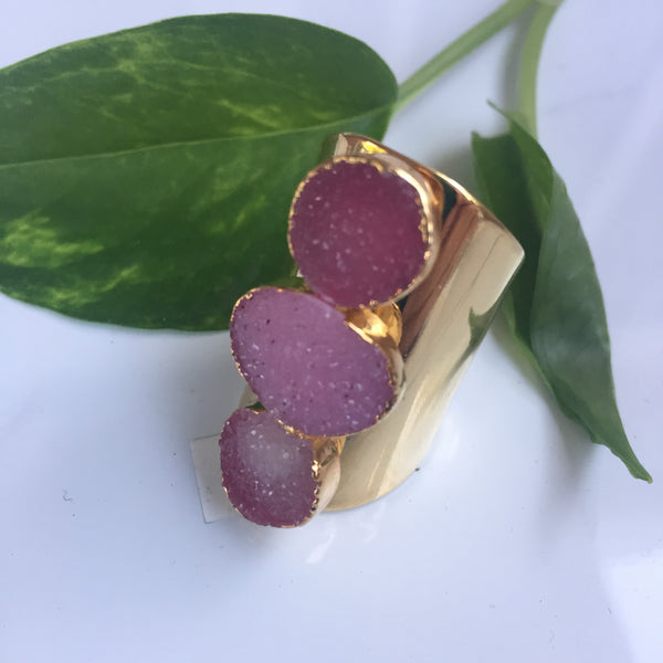 Raspberry Druzy Statement Ring