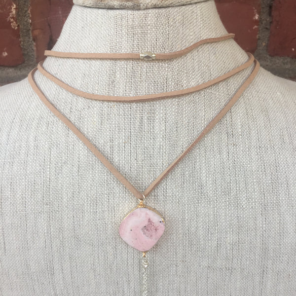 Pink Pendant Choker Necklace