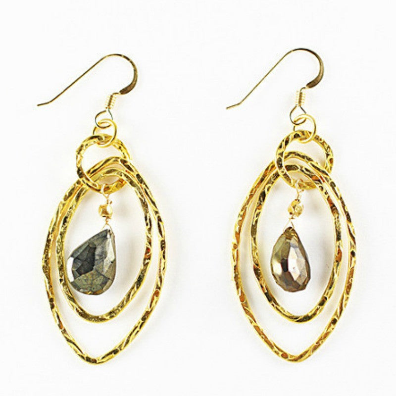 Gold Hammered Marquis Dangle Earrings - A Jewelry Wonderland