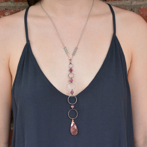 Raspberry Agate Pendant Necklace on Gunmetal Drop Circles