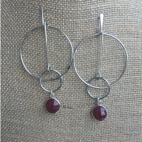 Ruby Drop Geometric Earrings