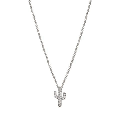 Cactus Necklace - White with CZ's