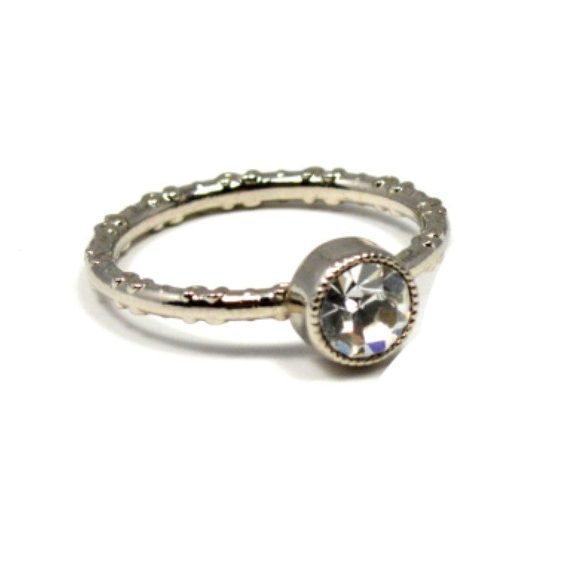 Swarovski Round Ring - Silver Shade/Rhodium - A Jewelry Wonderland