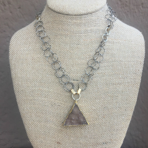 Triangle Druzy Pendant Chain Necklace