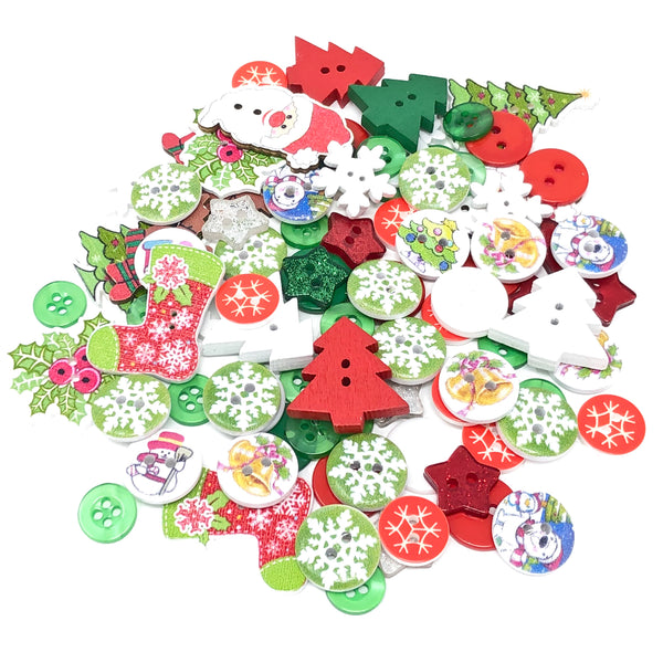 100 Mixed Wooden & Acrylic Buttons